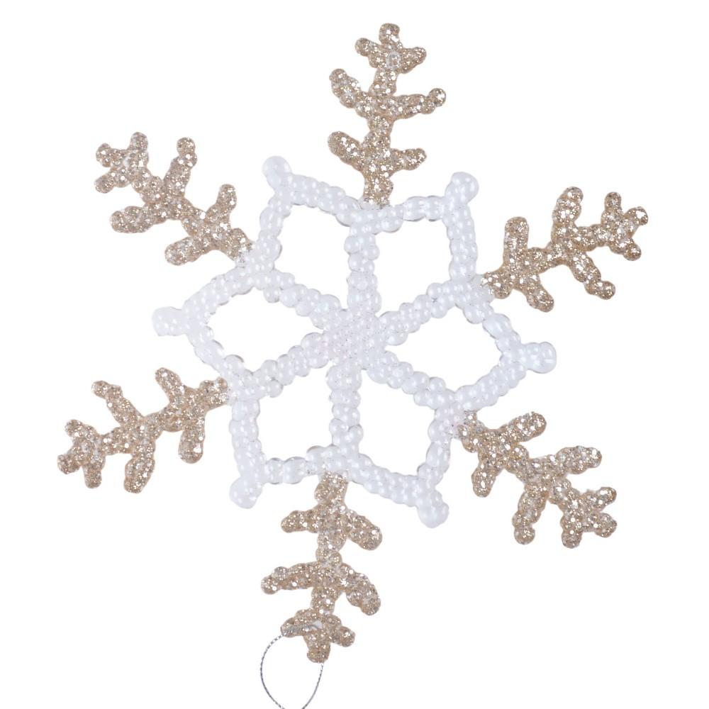 Závesná dekorácia v bielej a béžovozlatej farbe Ewax Snowflake, ⌀ 30 cm