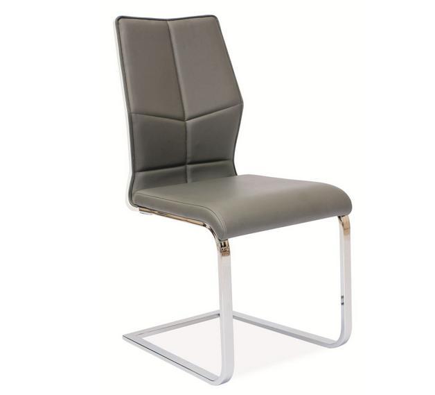 Jedálenská stolička HK-422, šedá/biely lesk
