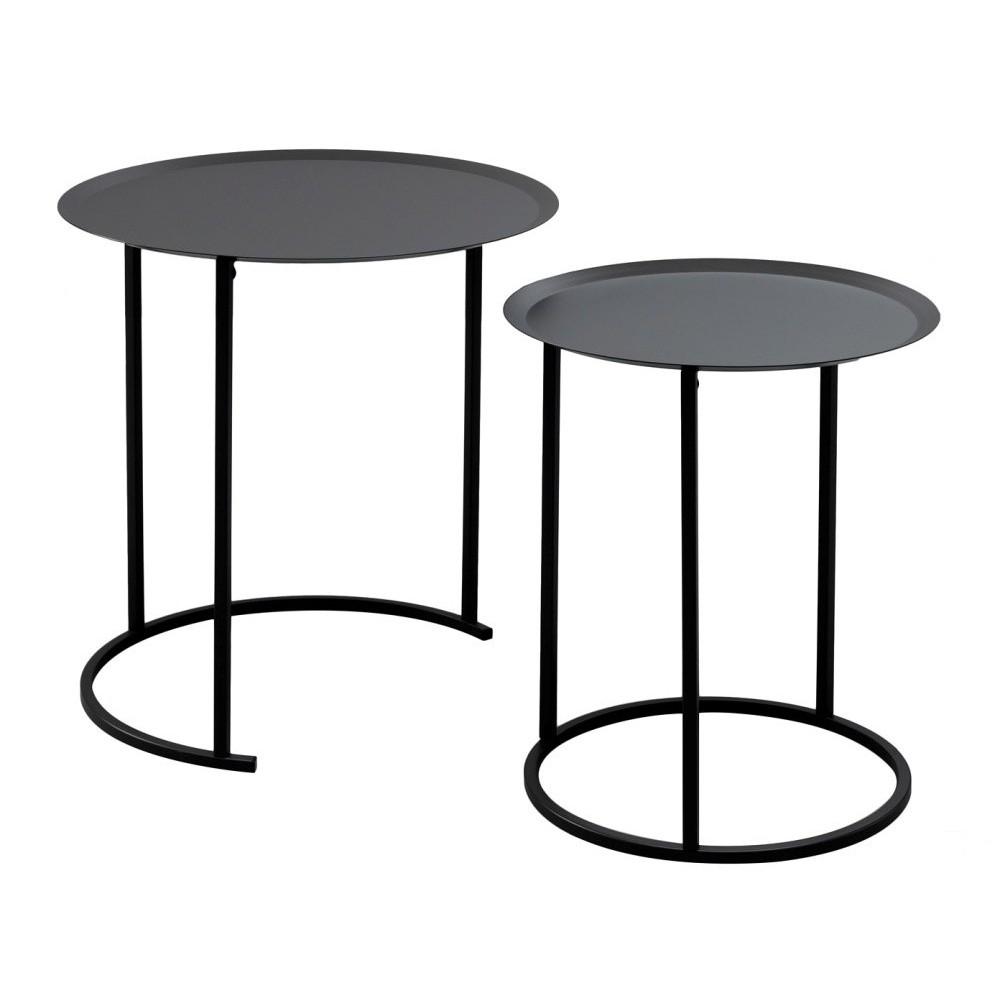 Sada 2 čiernych odkladacích stolíkov Design Twist Ocre