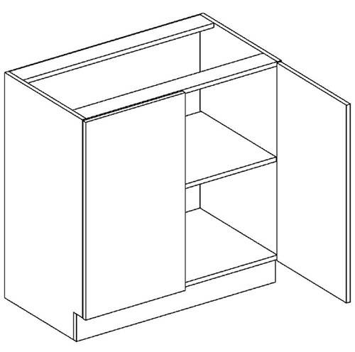 D80 dolná skrinka 2-dverová vhodná ku kuchyni DARK, LATTE