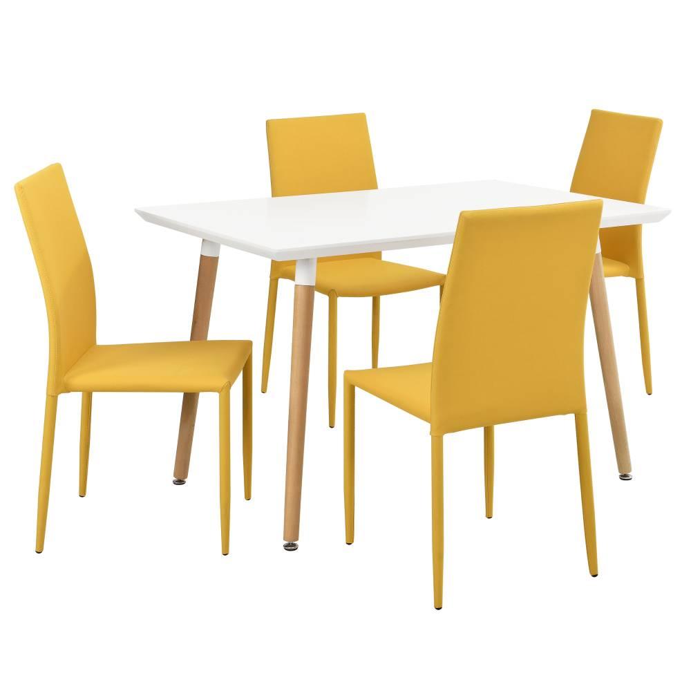 [en.casa]® Dizajnový jedálenský stôl - 120 x 70 cm - so 4 muštárovo žltými stoličkami