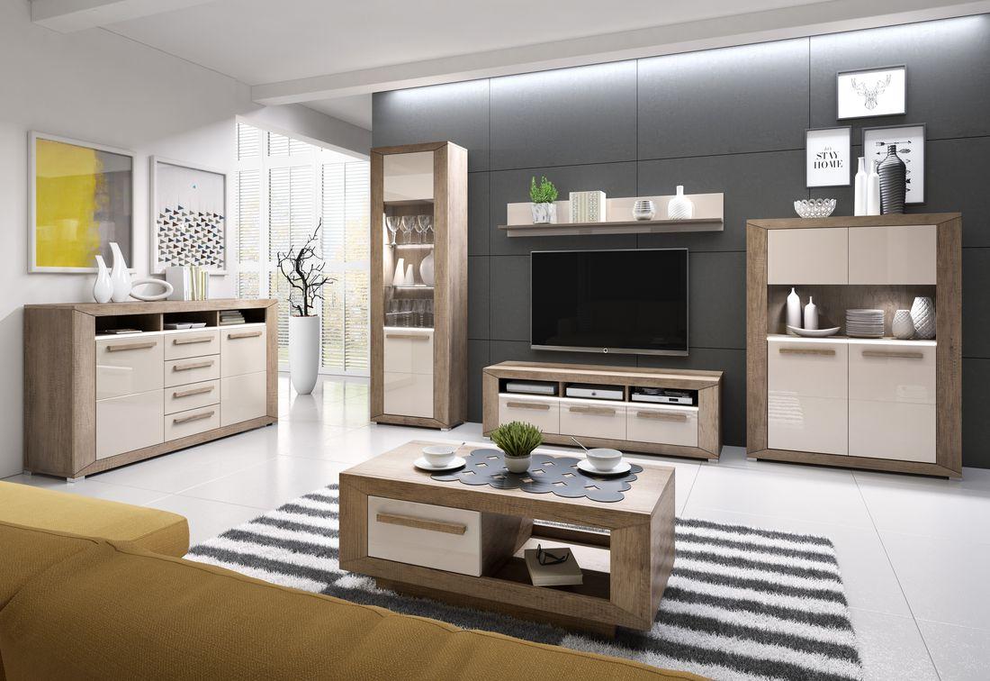 Obývacia zostava MILU + LED - vitrína (05), komoda (26), komoda (42), TV komoda (40), konf.stolek (99), polička (02), dub beaufort/biely lesk