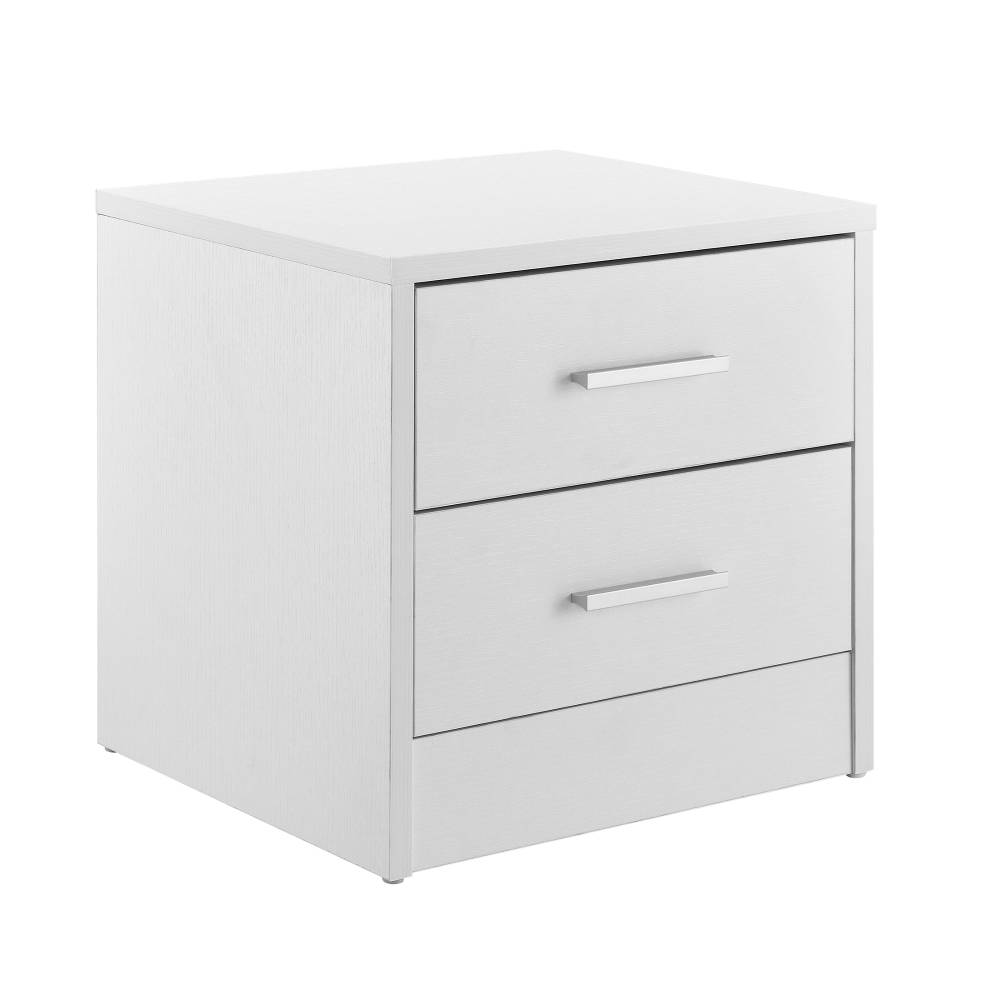 [en.casa]® Nočný stolík 2 zásuvky - komoda / kancelárska skrinka - biela