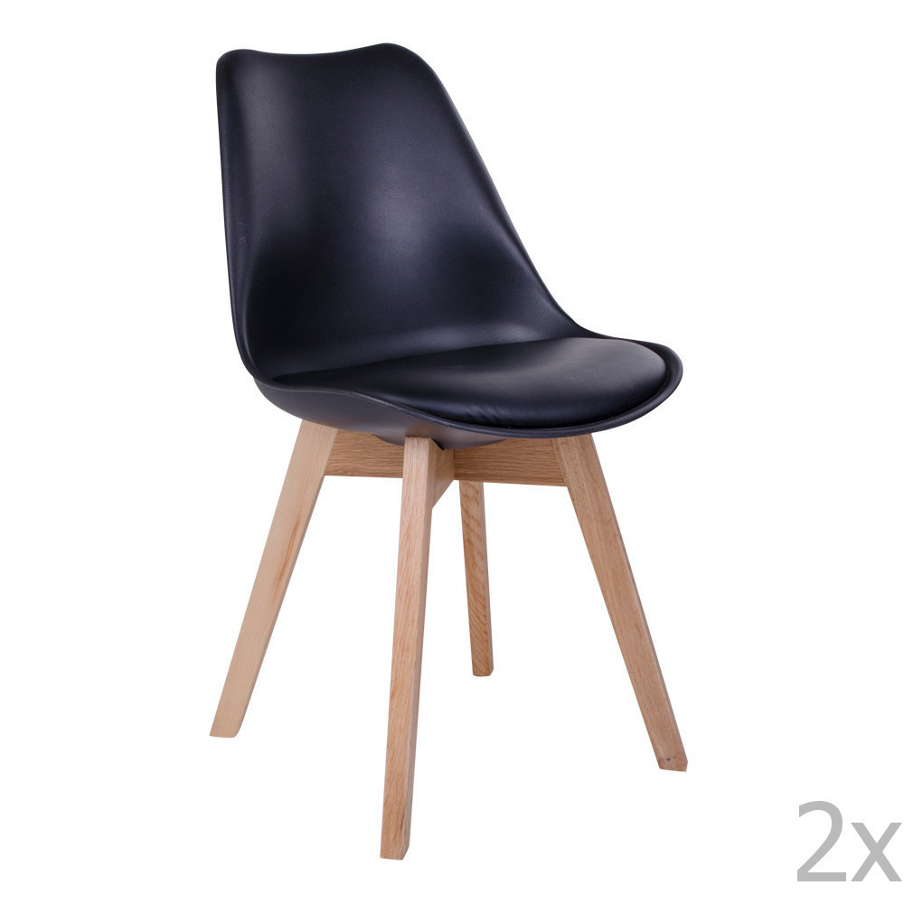 Sada 2 čiernych stoličiek House Nordic Molde
