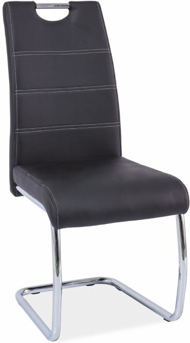 Jedálenská stolička, ekokoža čierna/chróm, ABIRA