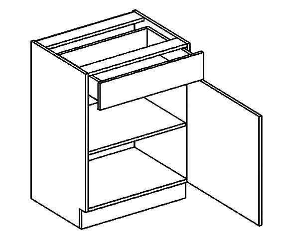 >> D50/S1 dolná skrinka so zásuvkou MOREEN, grafit/siva platina