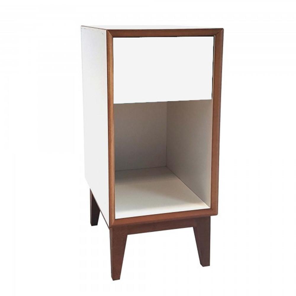 Malý nočný stolík s bielym rámoma bielou zásuvkou Ragaba PIX