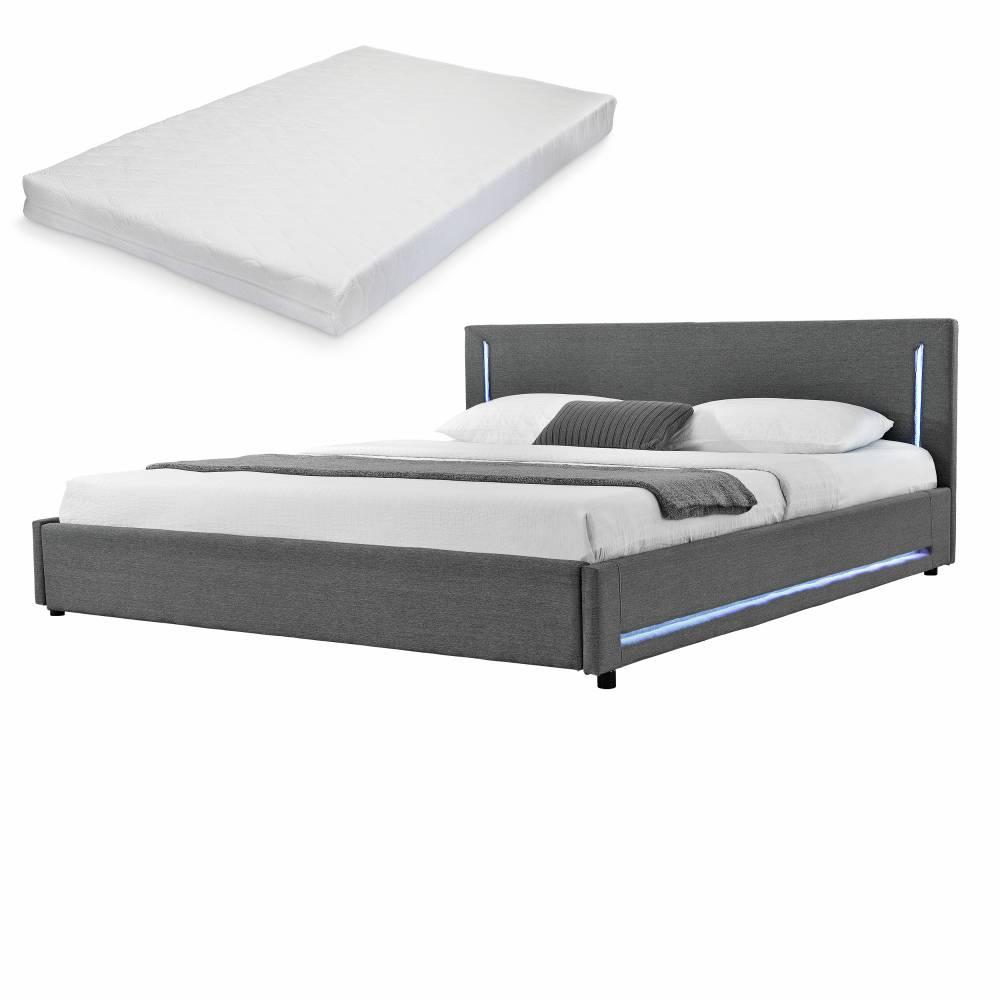 [my.bed] Elegantná manželská posteľ s LED osvetlením - matrac zo studenej HR peny - 180x200cm (Záhlavie: textil sivá / Rám: textil sivá) - s roštom