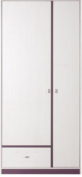 Šatníková skriňa Stone ST3   Farba: biela / fialová
