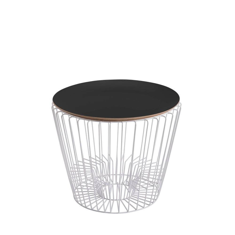 Odkladací stolík z lakovaného kovu s čiernou doskou HARTÔ Ernest, Ø50 cm