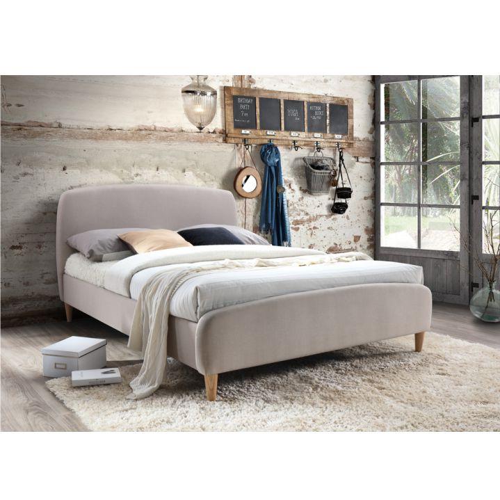Manželská posteľ s roštom, 160x200, béžová látka/ drevené nohy, RUPA