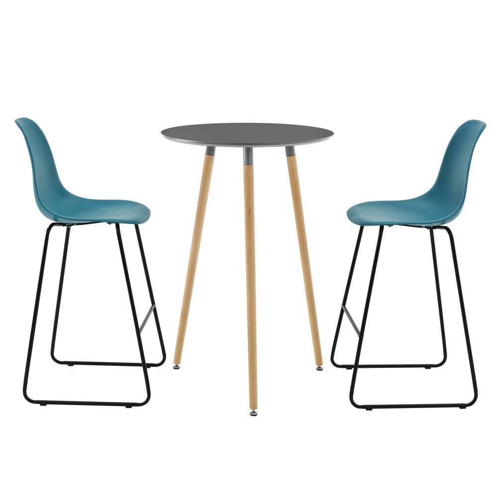 [en.casa]® Okrúhly barový stôl - Ø 70 cm + sada 2 stoličiek - tyrkysové