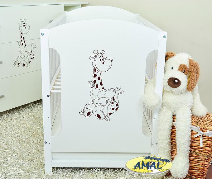 AMAL postieľka MIKI so zásuvkou Žirafka, biela