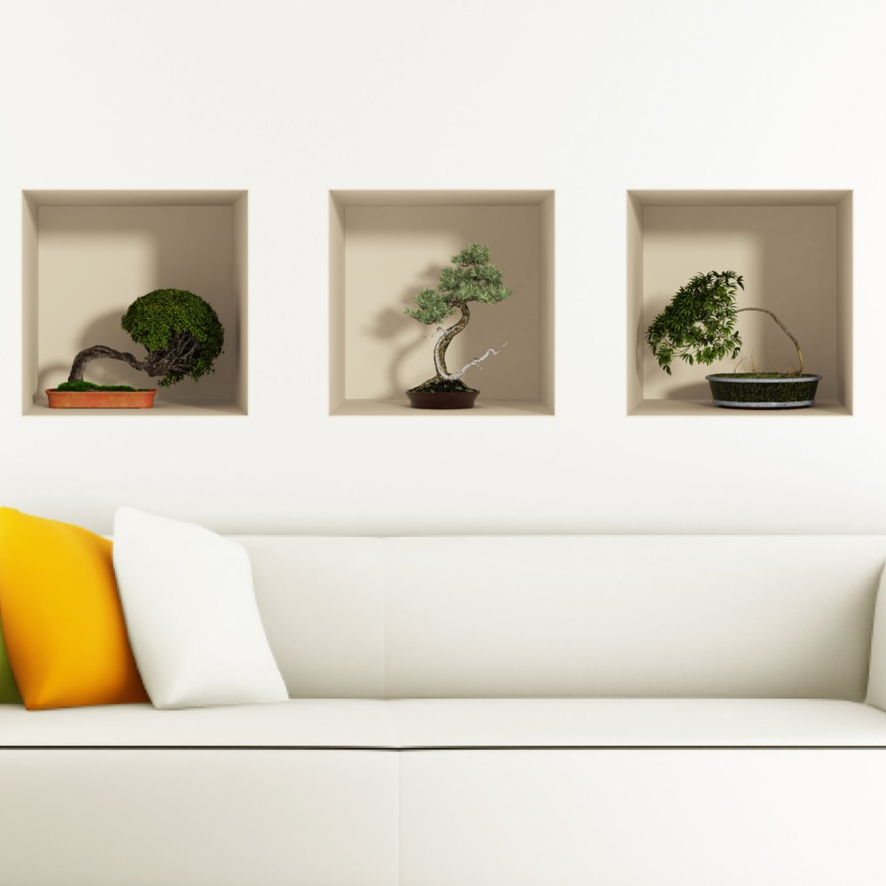 Sada 3 samolepiek s 3D efektom Ambiance Fanastick Bonsais