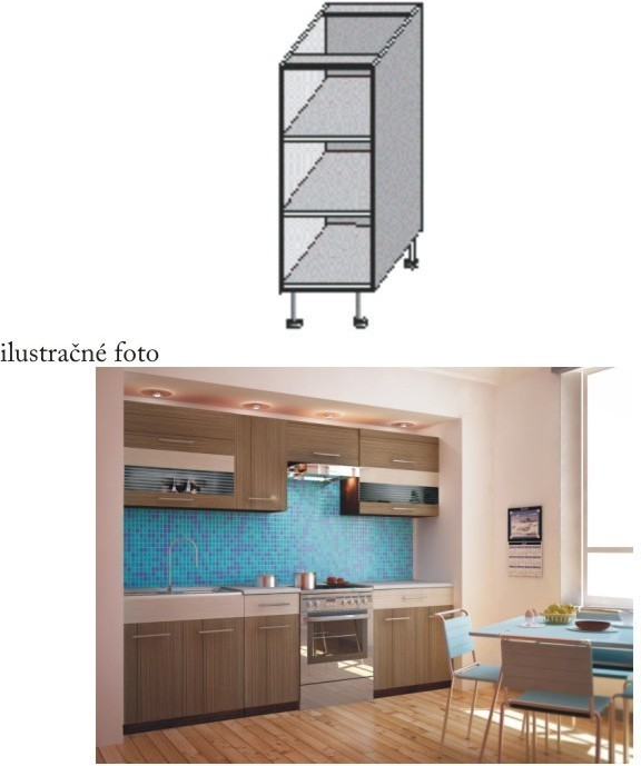 Kuchynská skrinka policová, wenge, JURA NEW I DO-20