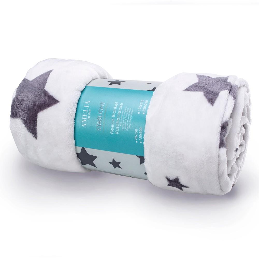 Bielosivá deka z mikroperkálu AmeliaHome Starlight, 70×150 cm