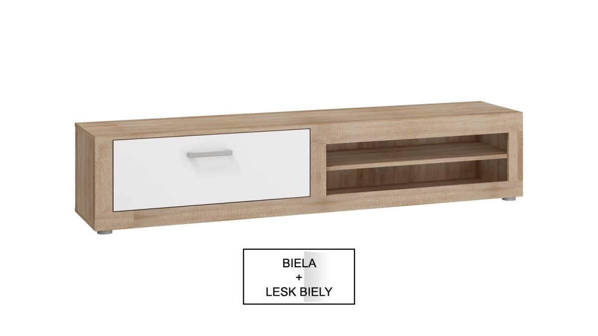 TV stolík/skrinka Viki VIK 04 (biela + lesk biely) *výpredaj
