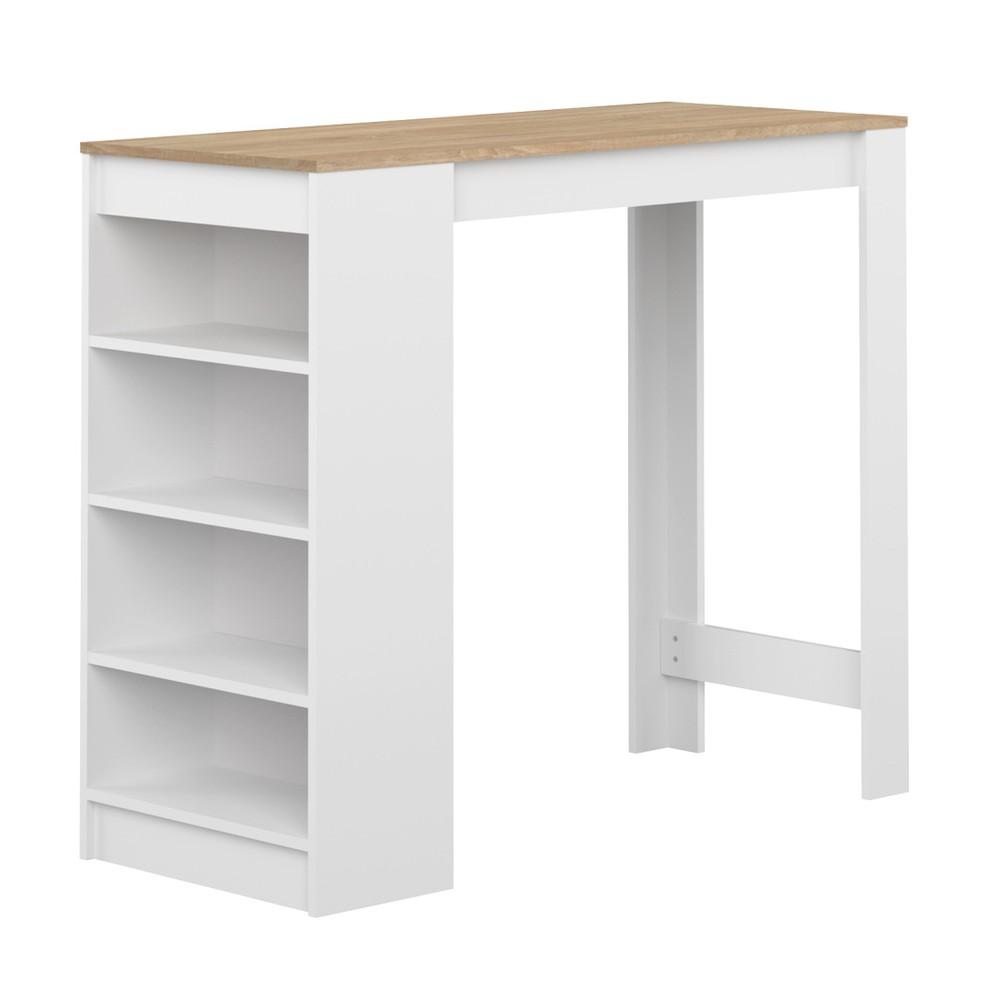 Biely barový stolík s doskou v dekore dubového dreva Symbiosis Aravis