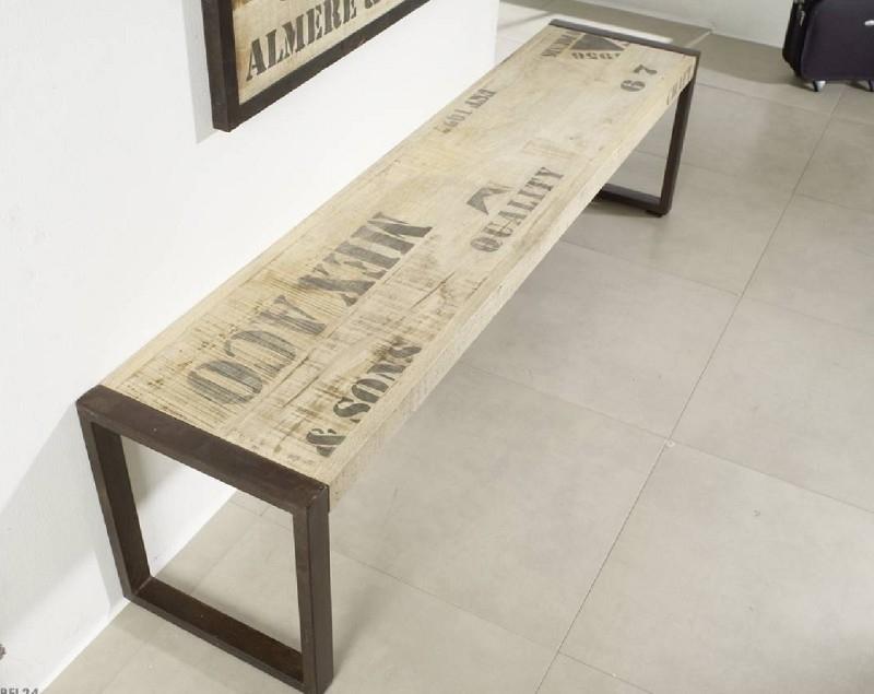 FACTORY lavica #121 - 160x45 liatina a mangové drevo, potlač