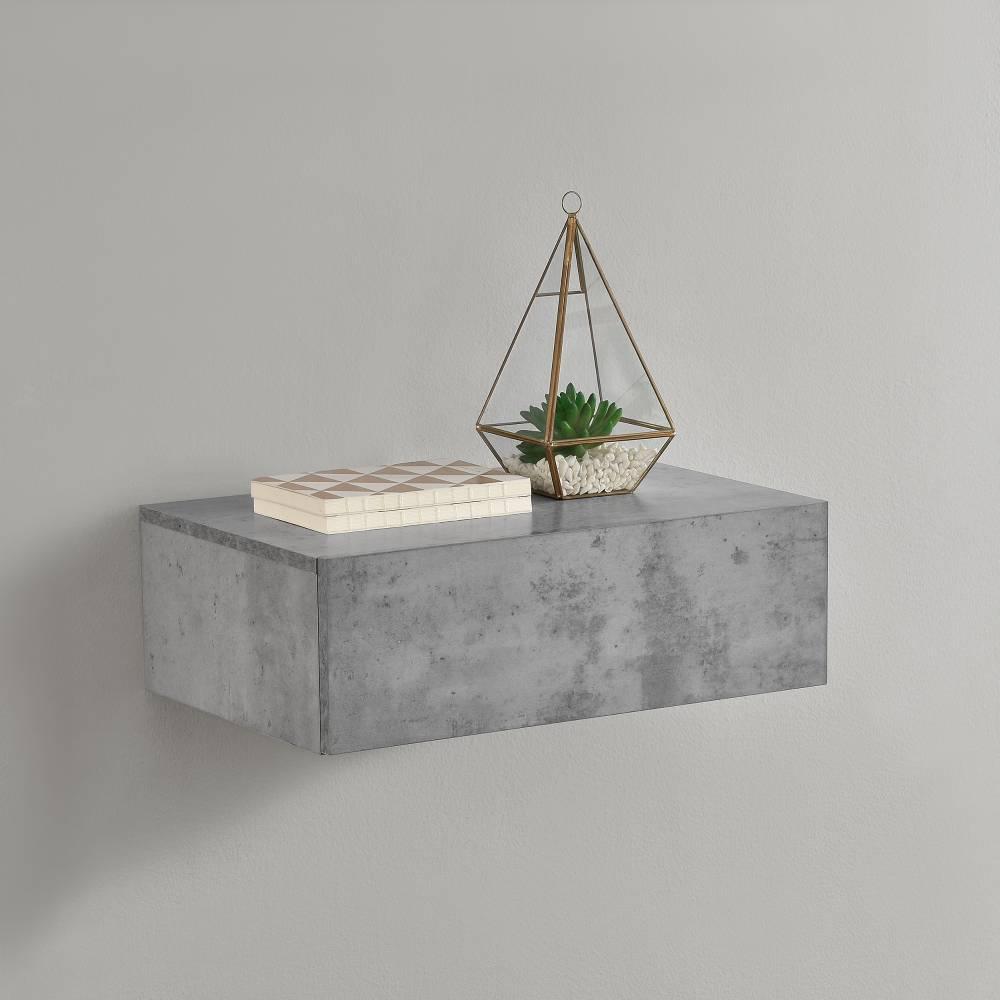 [en.casa]® Nočný stolík na stenu - 46 x 30 x 15 cm - imitácia betónu