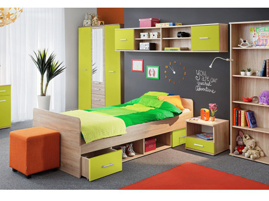 Jednolôžková posteľ 90 cm Emio Typ 04 Zelená