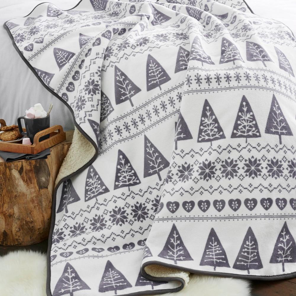 Sivý pléd Catherine Lansfield Nordic Winter, 170×130 cm