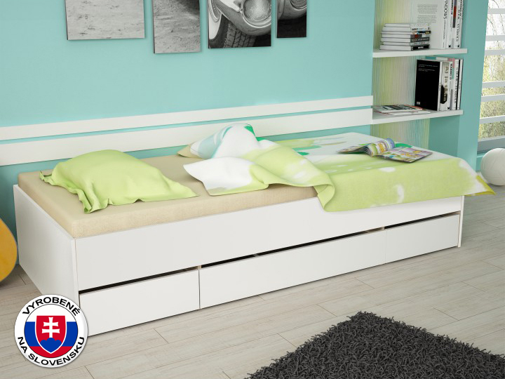 Jednolôžková posteľ 90 cm Matiasi (biela + biela)