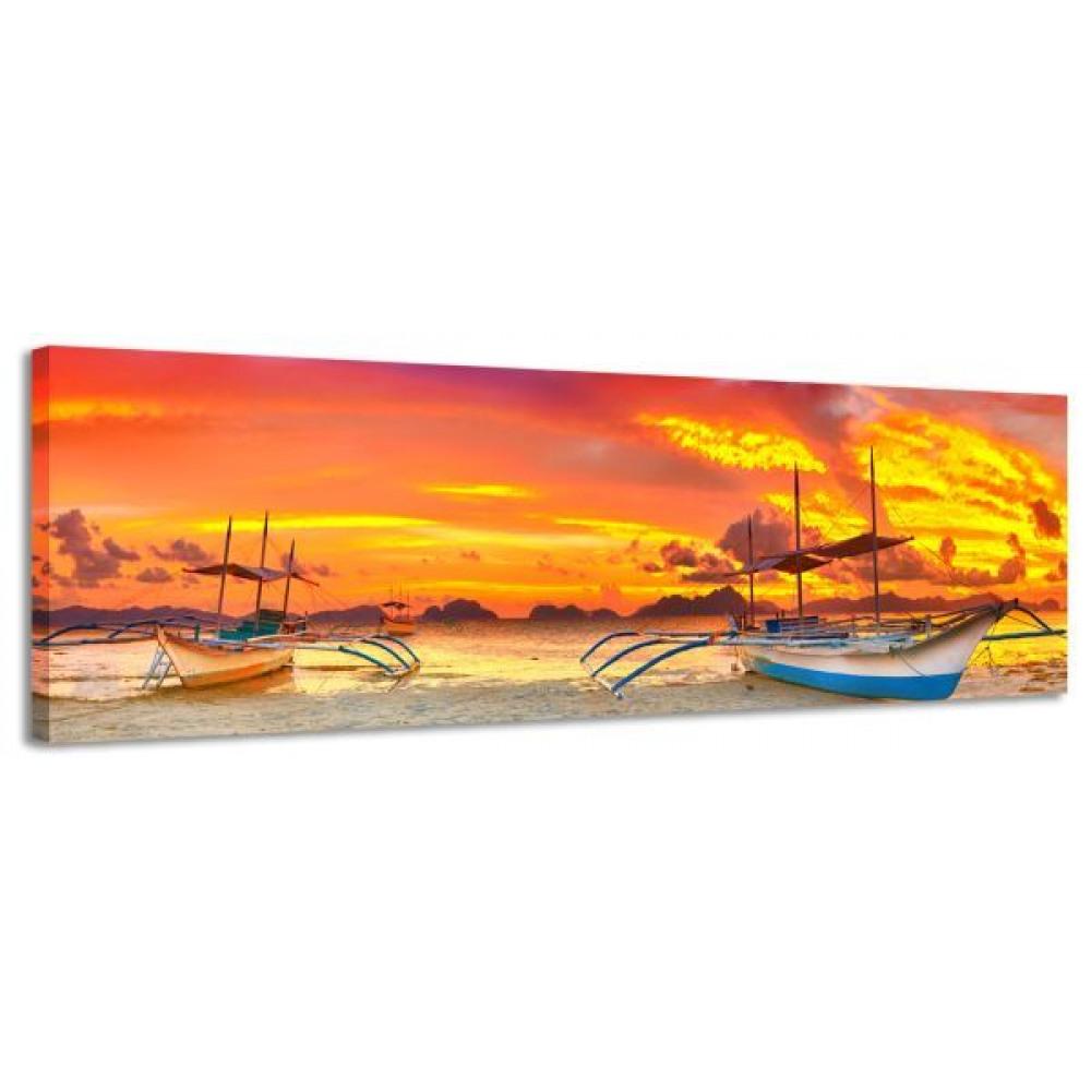 Obraz na plátne Panoráma, WRECKED BOAT, 158x46cm