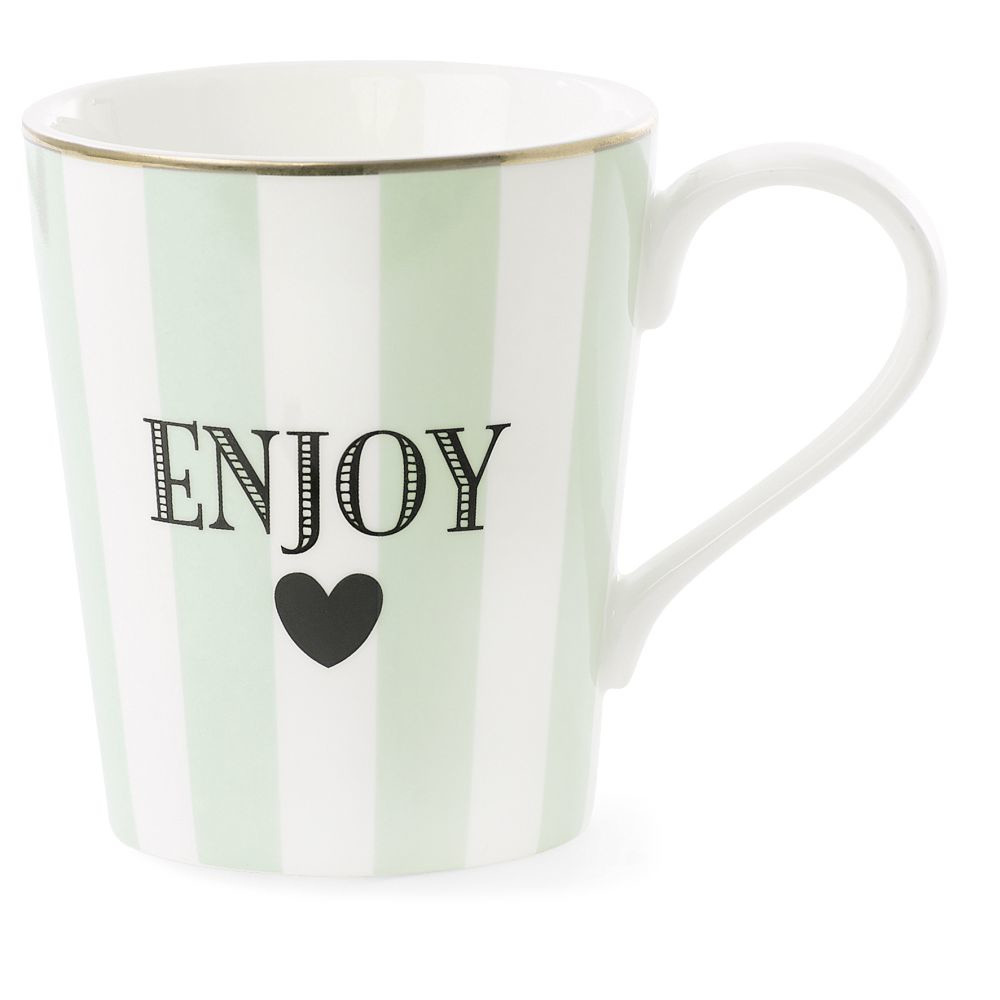 Keramický hrnček Coffee Enjoy Stripe Aqua Green