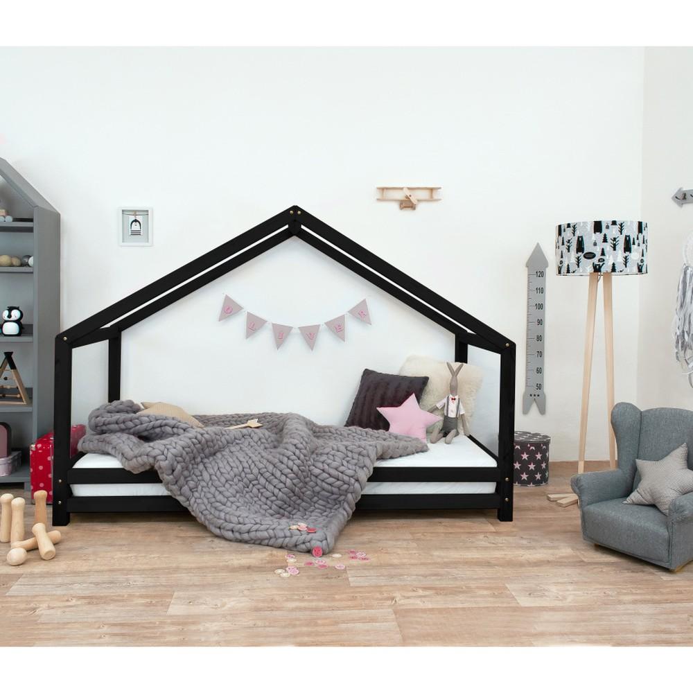 Čierna detská posteľ z lakovaného smrekového dreva Benlemi Sidy, 90 × 200 cm