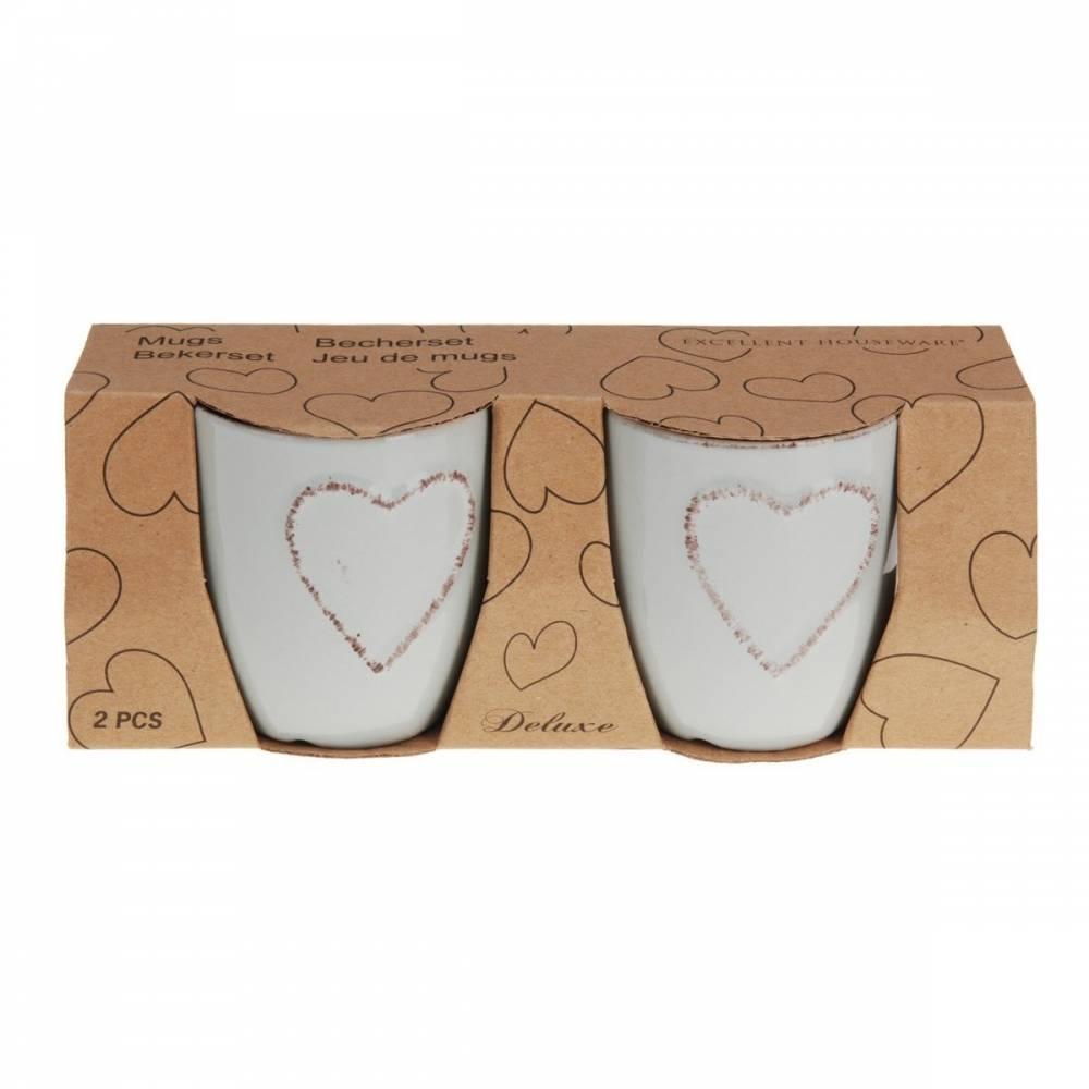 Sada kameninových hrnčekov Heart 150 ml, 2 ks, sv. sivá
