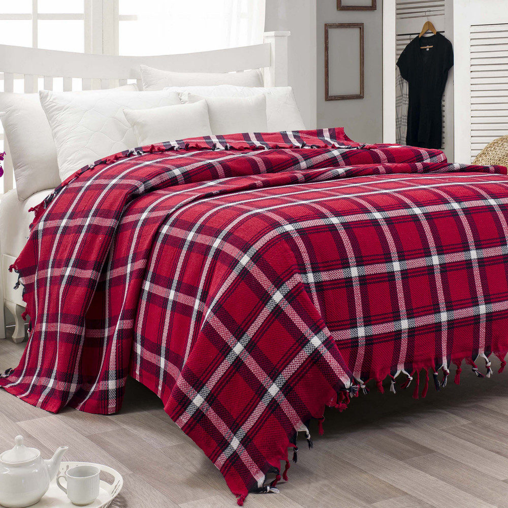 Ľahká prikrývka na posteľ Iskoc Red,200x240cm