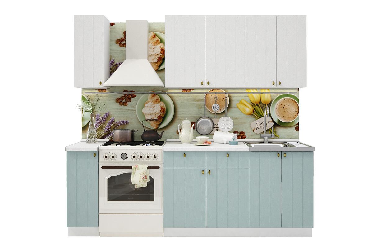 PROVENSAL 170 kuchynská zostava, biele drevo/morská modrá