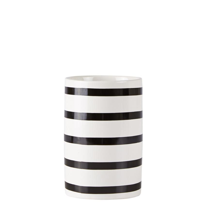 Bielo-čierny pohárik na zubné kefky Galzone