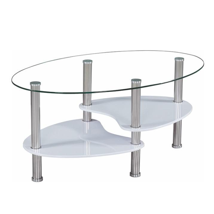 Konferenčný stolík, oceľ/sklo/biela extra vysoký lesk HG, AXEL NEW