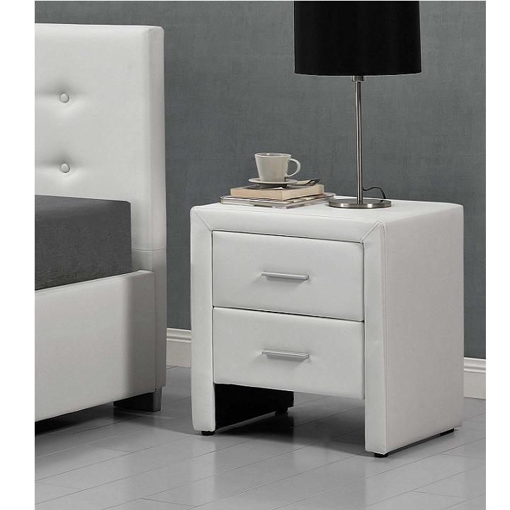 TEMPO KONDELA Nočný stolík, ekokoža biela, CASTEL