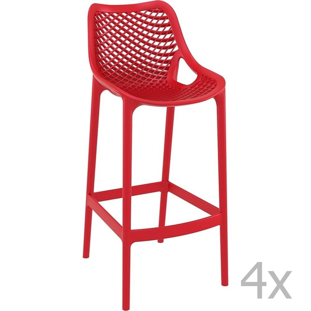 Sada 4 červených barových stoličiek Resol Grid Simple, výška 75 cm