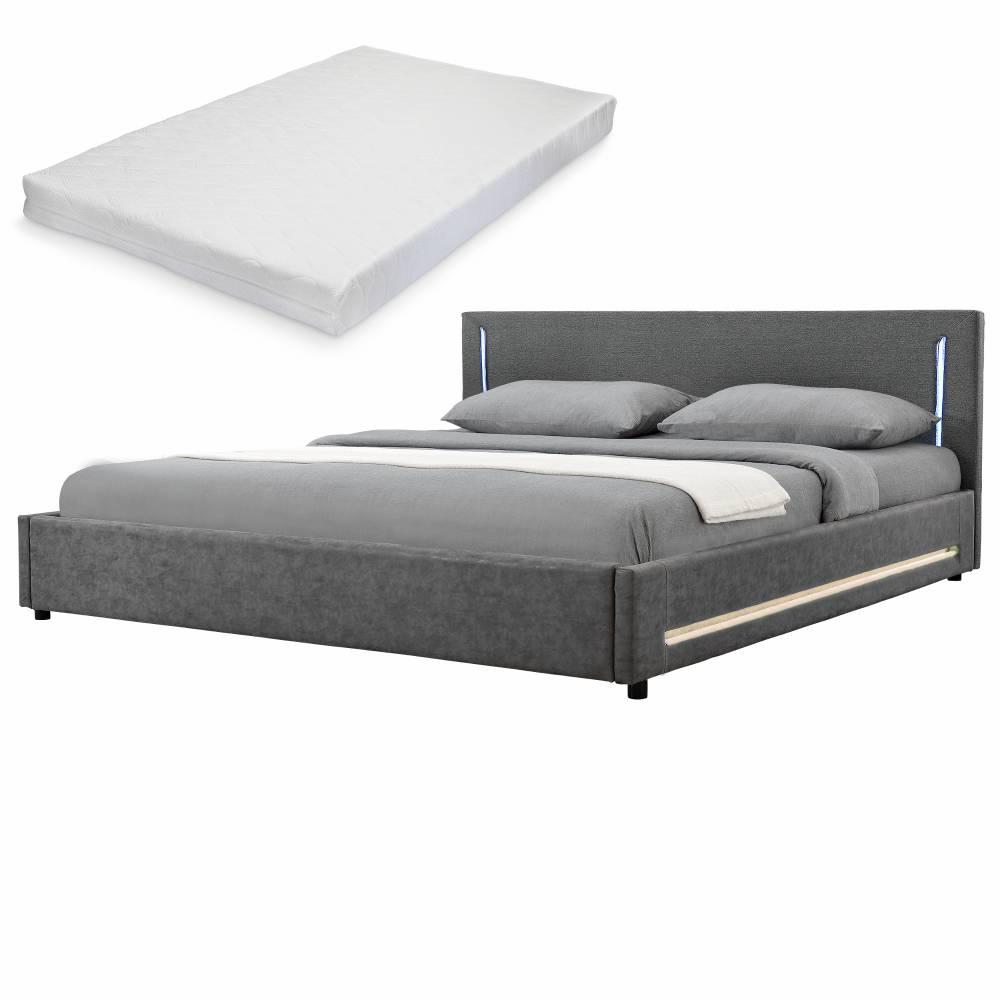 [my.bed] Elegantná manželská posteľ s LED osvetlením - matrac zo studenej HR peny - 180x200cm (Záhlavie: textil sivá / Rám: alcantara koženka sivá) - s roštom
