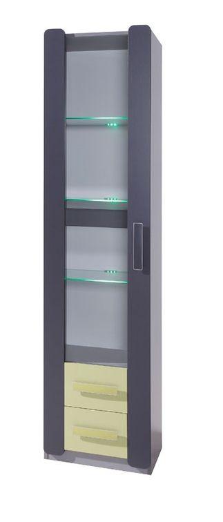 Vitrína FIGARO 1D, 203x50x42 cm, grafit/zelená, biely LED