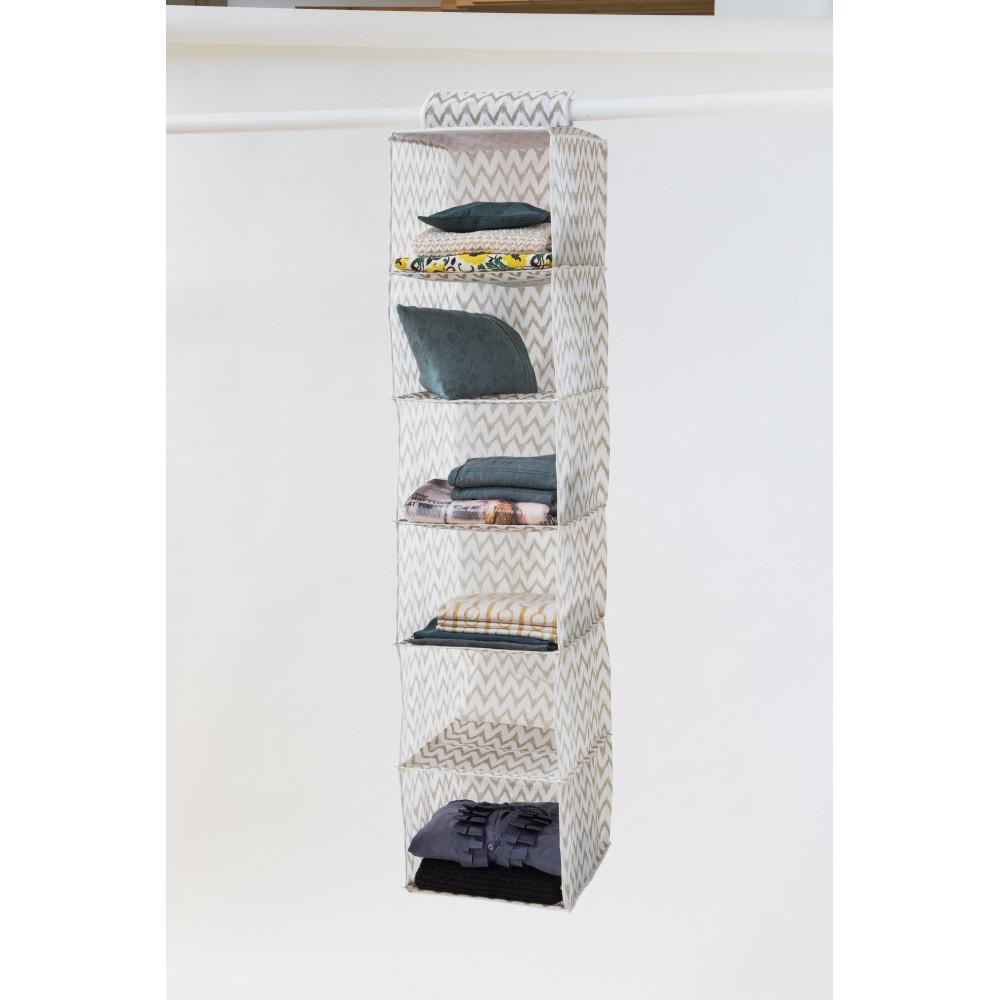 Svetlý textilný závesný organizér do šatníka Compactor Pockets, 6 kapes