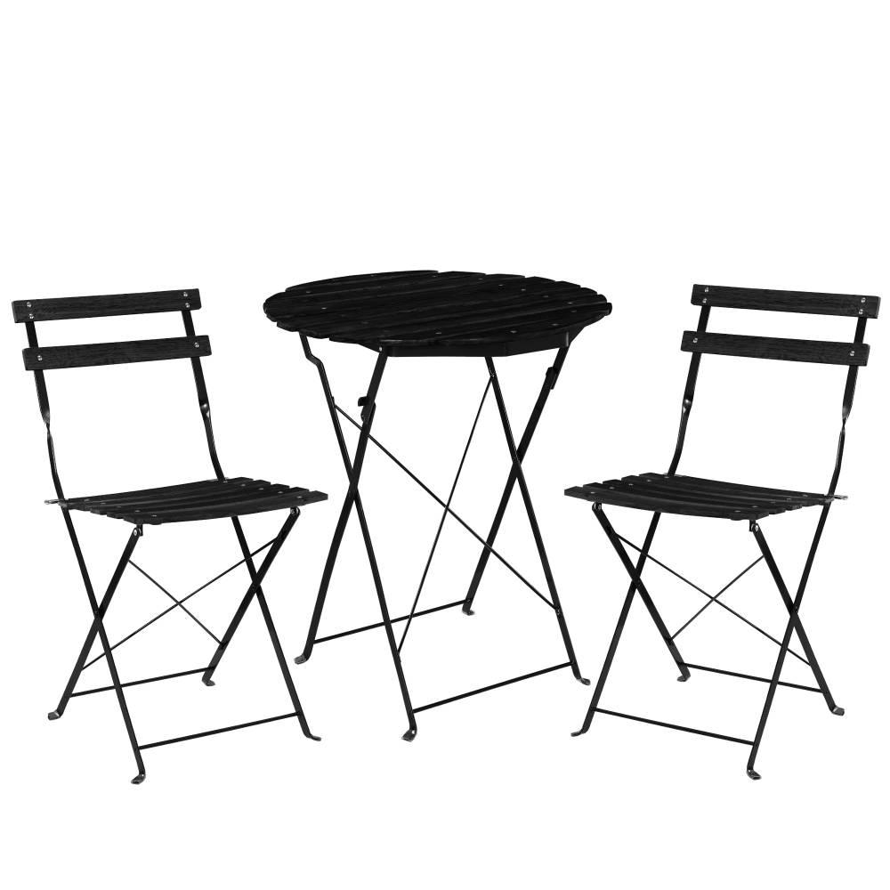 [casa.pro]® Bistro sada - okrúhly stôl + 2 stoličky - čierna