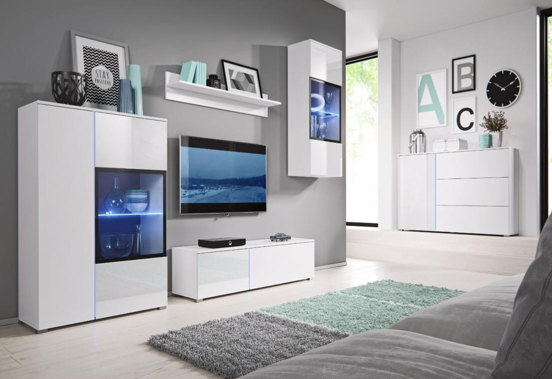 Obývací stěna MEMPHIS + LED, bílý/bílý lesk