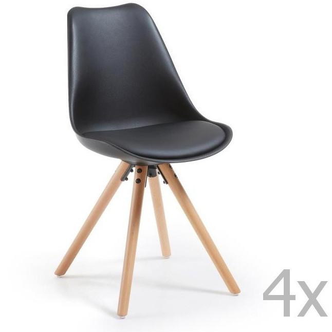 Sada 4 čiernych jedálenských stoličiek s dreveným podnožím La Forma Lars