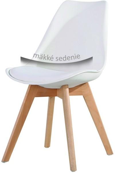 Stolička, biela+buk, BALI NEW