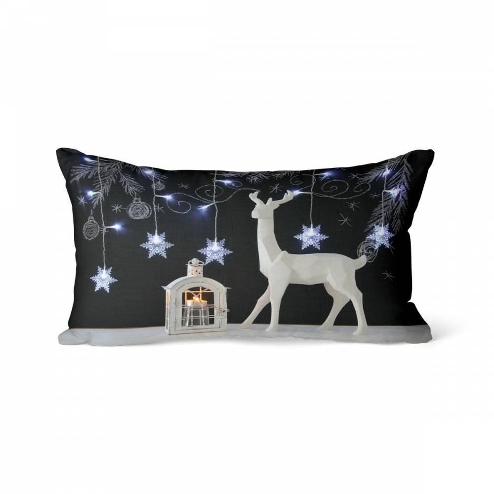 Domarex Vianočný svietiaci vankúšik s LED svetielkami, Sob a lampáš, 30 x 50 cm