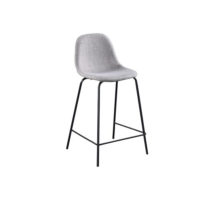 TEMPO KONDELA Barová stolička, svetlosivá látka/kov, MARIOLA NEW