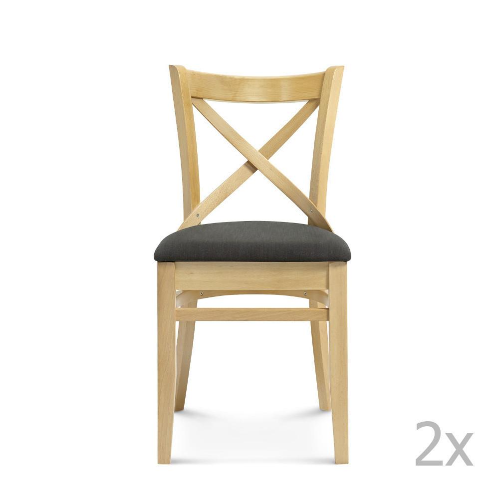 Sada 2 drevených stoličiek s čiernym čalúnením Fameg Hagen