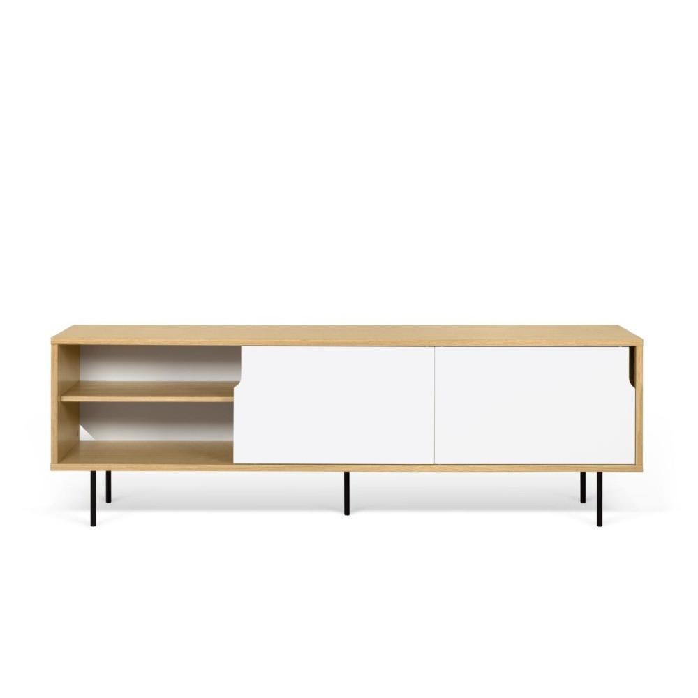 TV komoda v dekore dubového dreva s bielymi detailmi TemaHome Dann, dĺžka 201 cm