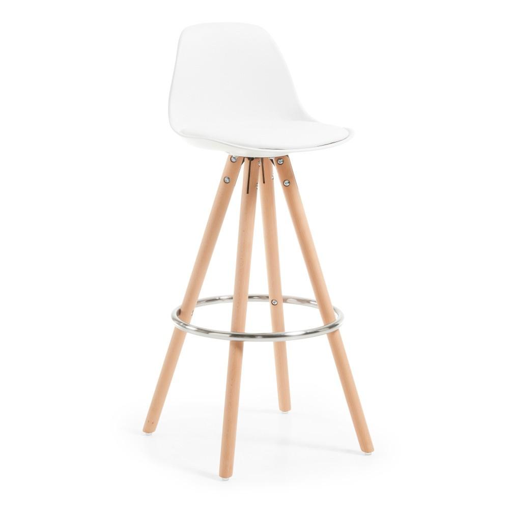 Biela barová stolička s drevenou podnožou La Forma Stag