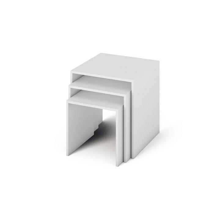 TEMPO KONDELA Sada príručných stolíkov, DTD laminovaná/ABS hrany, biela, SIPANI NEW